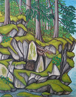 landscape painting Elaho Valley stoltman Wilderness landscape with blueberries, moss and cedar painting. click on Image for detail