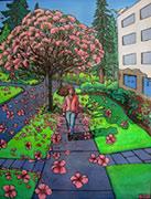 Landscape painting Cityscape PaintingCherry Tree Blossoms painting Pink Blossoms blowing in the wind woman in the cherry blossom painting in acrylic, landscape painting of a blossoming cherry tree on a city street cityscape painting by Vancouver BC Canadian artist Kim Hunter aka INDIGO