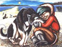 painting Inuit Child with Husky Sled Team in Autumn Sunset on the Churchill River . The flats Original Painting Click on Image for Detail