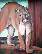 cougar painting / mural / wildlife painting original mural oil painting Mountain Lion / Cougar / Puma Oil painting on exterior stucco  by Artist Kim Hunter / INDIGO,  Muralist available.