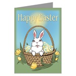 Easter Bunny  Cards Greeting Cards Easter Bunny Gifts & Shirts. Adorable Easter Bunny art & design by Canadian Artist Kim Hunter. Easter Bunny with basket, Tulips & Easter Eggs Gifts Design for Gifts & T-shirts for Home & Office, Men,