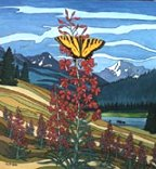 Landscape painting butterfly painting, Alberta landscape painting Original Butterfly and Fireweeds in the Alberta Foothills with Wildflowers Painting   by artist INDIGO / Kim Hunter   Click on Image for Detail