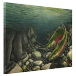 Bear Fishing Coho Salmon Painting Prints on Canvas