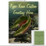 Salmon Art Cards Personalized Fishing Greeting Cards Custom or Blank Coho Card