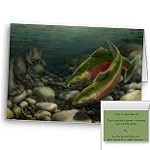Fishing Cards Bear Art Cards Fishing Coho Salmon Personalized Greeting Cards