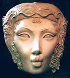 sculpture Wall Hanging deep Relief Mask Sculpture of the goddess of wine, fertility, mother nature, pagan goddess, Mask click on Image for detail