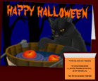 Black Cat Classic Halloween Invitations Cards Personalized Bobbing for Apples Halloween Cards