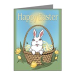 Easter Bunny Cards Note / Gift Cards Easter Bunny art & design by Canadian Artist Kim Hunter. Easter Bunny with basket, Tulips & Easter Eggs Gifts Design for Gifts & T-shirts for Home & Office, Men, Women, Boys & Girls & Baby