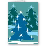 Christmas Cards Blank Holiday Tree Card Classic Blue Christmas Cards