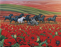 Landscape painting Wild Horses Poppy Fields w. Motor Cycle  Custom Oil Painting. Original commissioned / custom painting by Canadian Artist / Designer Kim Hunter.