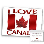 I Love Canada Cards Personalized or Blank Canada Souvenir Greeting Cards