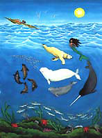 Inuit Myth painting  with Arctic Sea Life including Beluga & Narwhale and Polar Bear Original Painting Click on Image for Detail