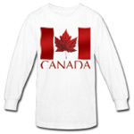 Kid's Canada Flag Souvenir Long Sleeve Shirt Red Canadian Maple Leaf T-shirts for Boys Girls Beautiful Children's Canada Souvenir