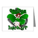 Feeling Lucky  Retro Pinup Girl Greeting Cards Lucky Irish Pinup Cards for Men Women Boys Home & Office Cards for Birthdays Lucky Irish Invitations Card Art & Design Retro Sexy Pinup Lucky St. Patrick's Shamrock Cards St. Patrick's Day Cards & Gifts Online