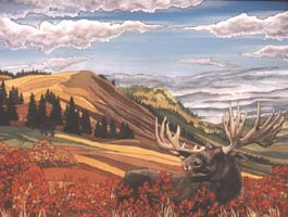 landscape / Wildlife painting Bull Moose in Alberta Foothills Painting For Sale Click on Image for Detail