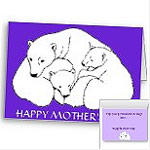 Personalized Mother's Day Cards Mother & Cubs Polar Bar Greeting Card Blank or Custom