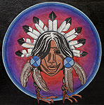 Indian painting Native Headdress w. Feathers Original Painting Click on Image for Detail
