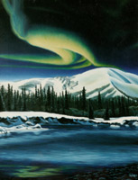 oil landscape painting, northern lights, landscape Yukon Northern Lights Aurora Borealis in the late twilight Oil Painting by artist INDIGO / Kim Hunter  arctic landscape painting Canadian Artist  Commissioned paintings welcome!