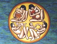 Native Art, Mother & Child Painting, rising son First Nations painting arctic art by canadian artist Kim Hunter / Indigo