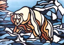 wildlife painting polar bear painting stain glass polar bear arctic painting click on Image for detail