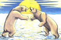 painting Polar Bear painting  young adults, Juvenile  Wrestling Sparring on Winter Ice Flows Painting Churchill MB Original Painting Click on Image for Detail