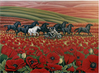 Poppy Fields and Wild Horses Landscape Painting Fine Art Prints and Posters