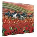 Wild Horses and Poppy Fields Biker Painting Prints on Canvas