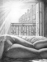 Magic Moments Immoralized in Pencil custom pencil sketch from photo  reclined figutative w. cityscape graphite pencil on paper drawing