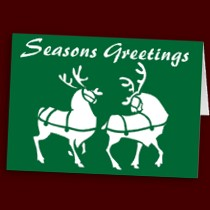Reindeer Cards Seasons Greetings Classic Christmas Personalized or Blank Cards