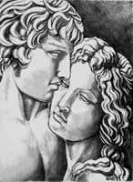 Pencil Sketch Romanesque pencil drawing sculpture of a man and woman in love, Coceptual sketch for an oil painting original drawing by artist Kim Hunter aka INDIGO