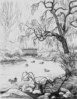 pencil Sketch Vancouver BC landscape drawing  cement bridge over Lost Lagoon's Creek in Stanley park pencil drawing  by contemporary Canadian Artist INDIGO aka Kim Hunter