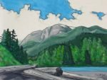 Landscape painting Old Growth Forest Landscape Painting Watercolours by Canadian Artist Kim Hunter / Indigo Old Growth Forest Landscape Painting Mountains & Rivers Painting Canadian Old Growth Forest Painting