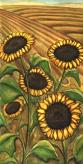 Landscape painting sunflowers painting watercolour landscape sunflower painting of Sunflowers on the prairies by artist Kim Hunter aka INDIGO