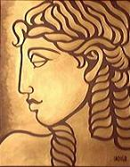 Original  Sylized greek goddess painting in block print style acrylic painting on bristleboard painting by contemporary Canadian Artist Kim Hunter aka INDIGO